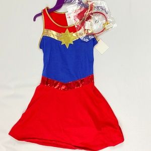 NEW Captain Marvel Halloween Costume Dress & Headb